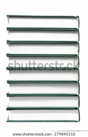 book stack vertically lying on white - stock photo