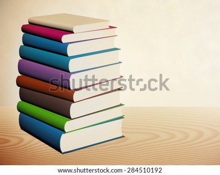 Book stacked on the table, 3d illustration - stock photo