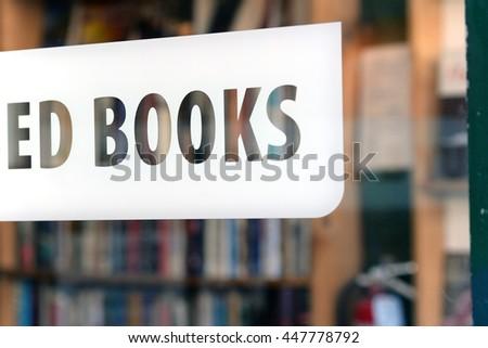 book store window, shallow focus - stock photo