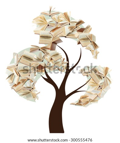 Book tree isolated on white - stock photo