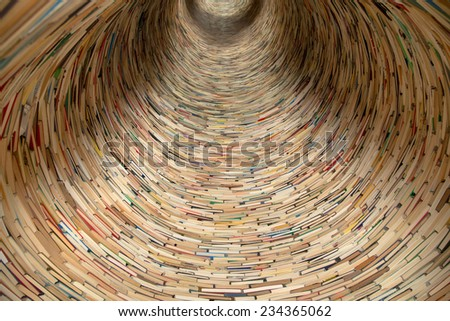 book tunnel in Prague library -- mirrors are used to create this effect - stock photo