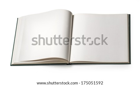 Book with blank page.with clipping path