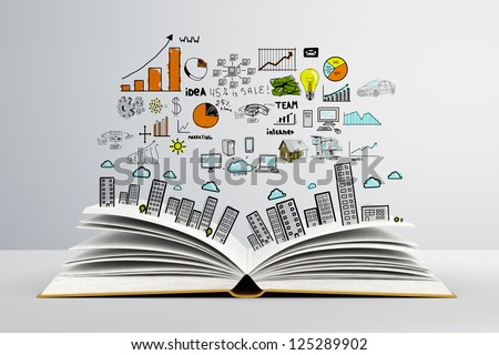book with colorized colorized drawing city - stock photo