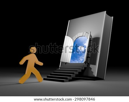 Book with door to future - stock photo