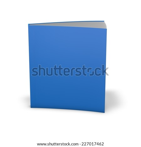 Book with empty blue cover. Standing in vertical position. Template illustration with copy space.