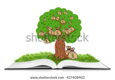 Book with green tree in bag and dollar sign isolated on white - stock photo
