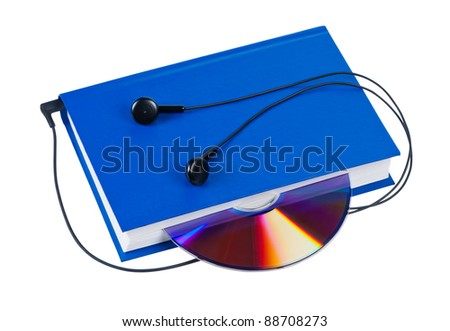 Book with headphones and cd isolated on white background. Concept audio books. - stock photo