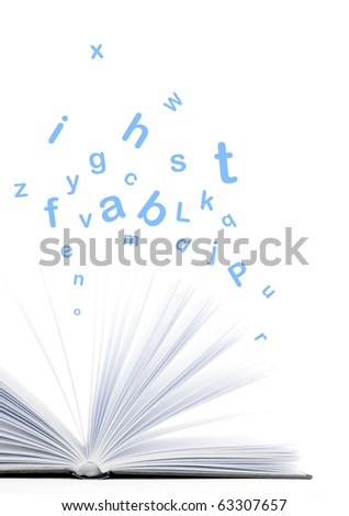 Book with letters flying out of it - stock photo