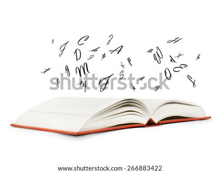 Book with letters flying out of it on a white