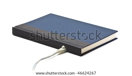 Book with network adapter over white background - stock photo