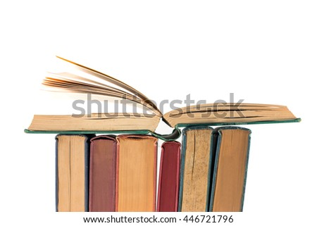 Book with opened pages isolate on white background - stock photo