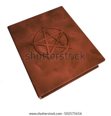 Book with pentacle over the cover, isolated over white, 3d rendering