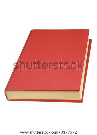 Book with red cover, isolated on white - stock photo