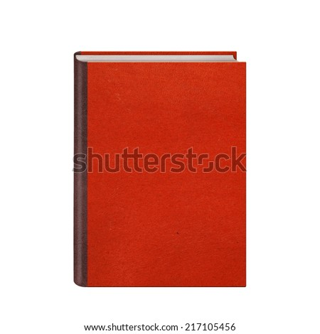 Book with red hardcover isolated on white background - stock photo