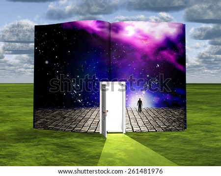Book with science fiction scene and open doorway of light - stock photo