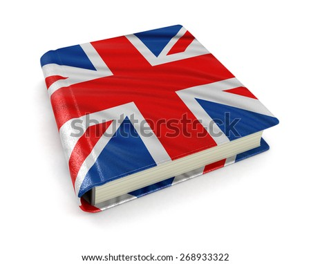 Book with UK flag (clipping path included) - stock photo