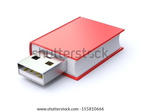 Book with USB plug  - stock photo