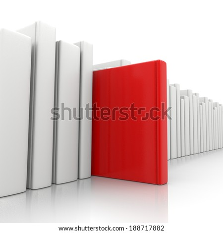 Bookcase and a Red Book Standing Up on White Background - stock photo