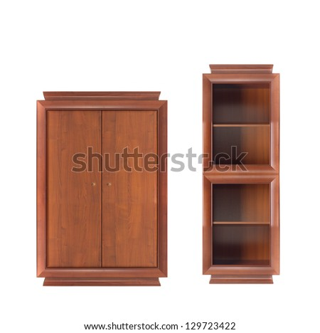 bookcase with wooden wardrobe - stock photo