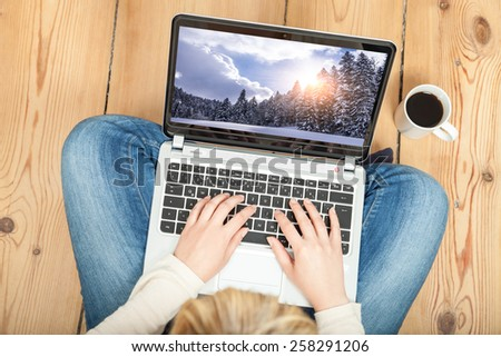 booking christmas vacation on laptop - stock photo