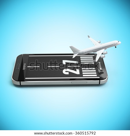Booking or buying airline tickets online concept. Smartphone or mobile phone with runway and airplane. 3d - stock photo