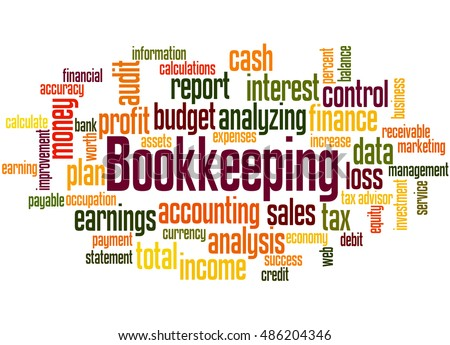 Bookkeeping, word cloud concept on white background.