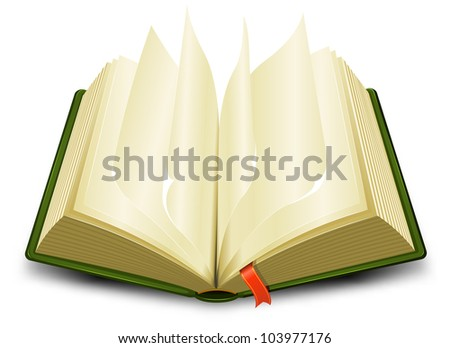 Bookmark And Flipping Pages/ Illustration of a cartoon opened green book with flipping pages and a red bookmark - stock photo