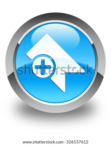 Bookmark icon glossy cyan blue round button - stock photo