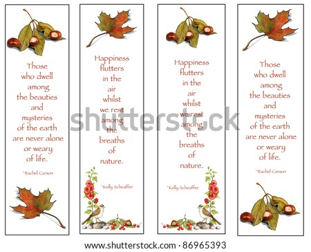 Bookmarks With Nature Theme: Drawings - stock photo