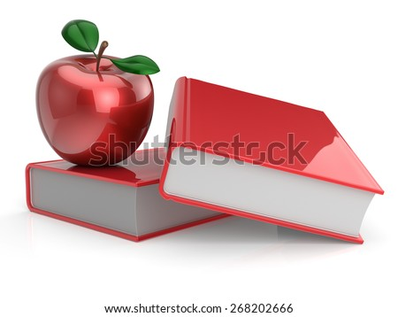 Books and apple red education health reading textbook learning examination erudition teaching back to school concept. 3d render isolated on white - stock photo