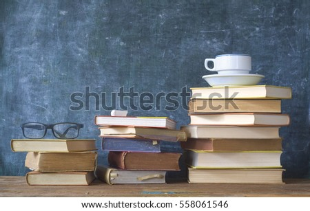 books and black board, education, learning concept, free copy space