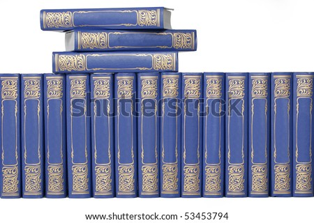 books and bookmark on white background - stock photo