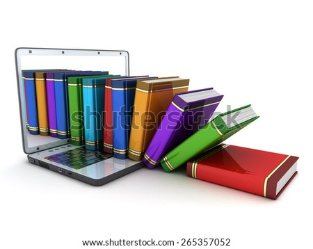 books and computer on white background (done in 3d)  - stock photo
