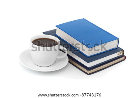 books and cup of coffee isolated on a white background