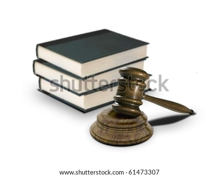 books and gavel - stock photo