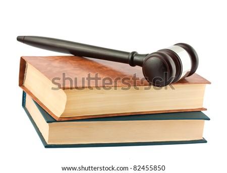 Books and gavel isolated on white background - stock photo