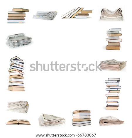 books and newspapers collection isolated on white - stock photo