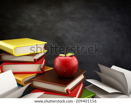 Books and one red apple standing in front of the blackboard.