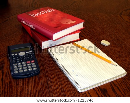 "Books and study materials. ""Hard Maths"" - stock photo"