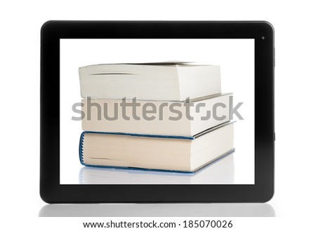 books and tablet pc isolated on white background, digital library concept - stock photo