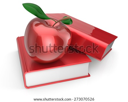 Books apple red textbook education studying reading learning school college knowledge wisdom idea icon concept. 3d render isolated on white background - stock photo