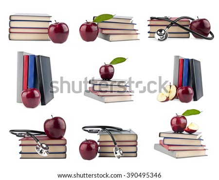books are isolated on a white background - stock photo
