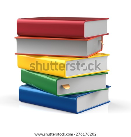 Books blank stack of book covers different colorful five textbook bookmark. School studying information content learn icon concept. 3d render isolated on white background - stock photo