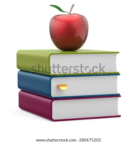 Books blank textbooks stack red apple education studying reading learning school college knowledge literature idea wisdom icon concept. 3d render isolated on white - stock photo