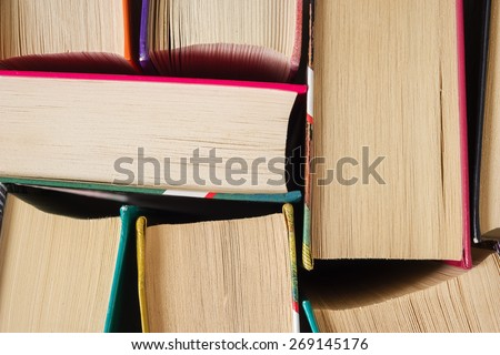 Books close up are on the table - stock photo