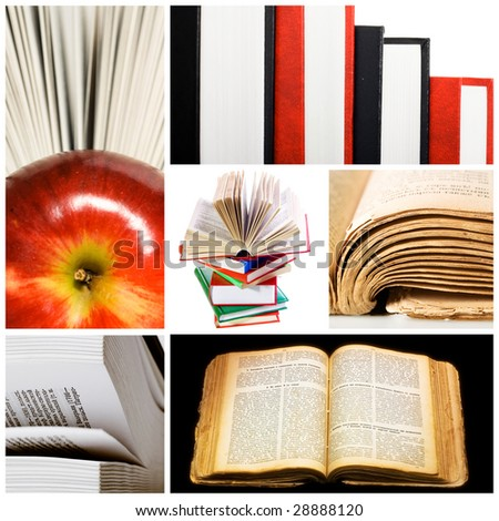 books collage - stock photo