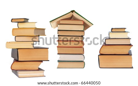 books collection isolated on white - stock photo