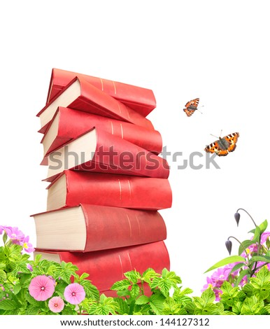 Books, flowers and butterfly. Isolated over white - stock photo