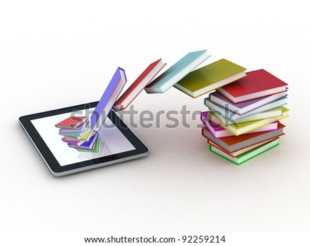 Books fly into your tablet, 3D - stock photo