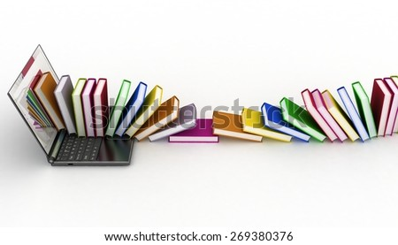 Books from your laptop on a white background - stock photo